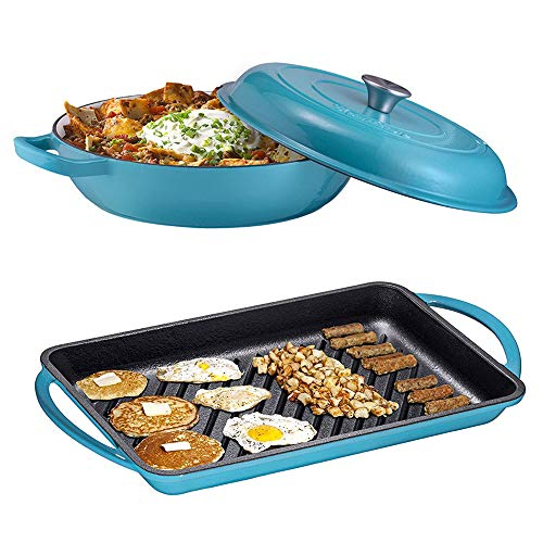 Enameled Cast Iron 2 Piece Gift Set, 3.8 Quart Braiser Pan with Lid, Rectangular Grill Pan Cookware Set, Marine Blue