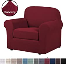 H.VERSAILTEX 2-Pieces Sofa Cover Knitted Jacquard Spandex Sofa Slipcover Stay in Place Super Rich Furniture Cover/Protector, Skid Resistance (Chair, Burgundy)