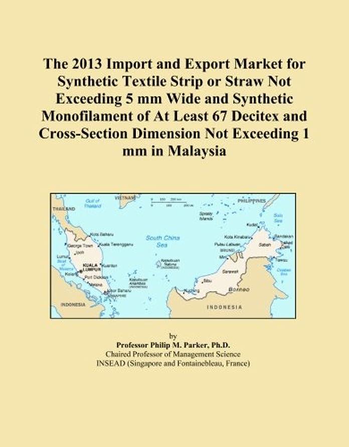 モデレータ汚染する抵当The 2013 Import and Export Market for Synthetic Textile Strip or Straw Not Exceeding 5 mm Wide and Synthetic Monofilament of At Least 67 Decitex and Cross-Section Dimension Not Exceeding 1 mm in Malaysia