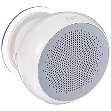 Aud Shower by iLuv, Portable Water Resistant Rechargeable Bluetooth Shower And Pool Speaker with Hands-Free Phone Capabilities For Fishing And Boating (White)