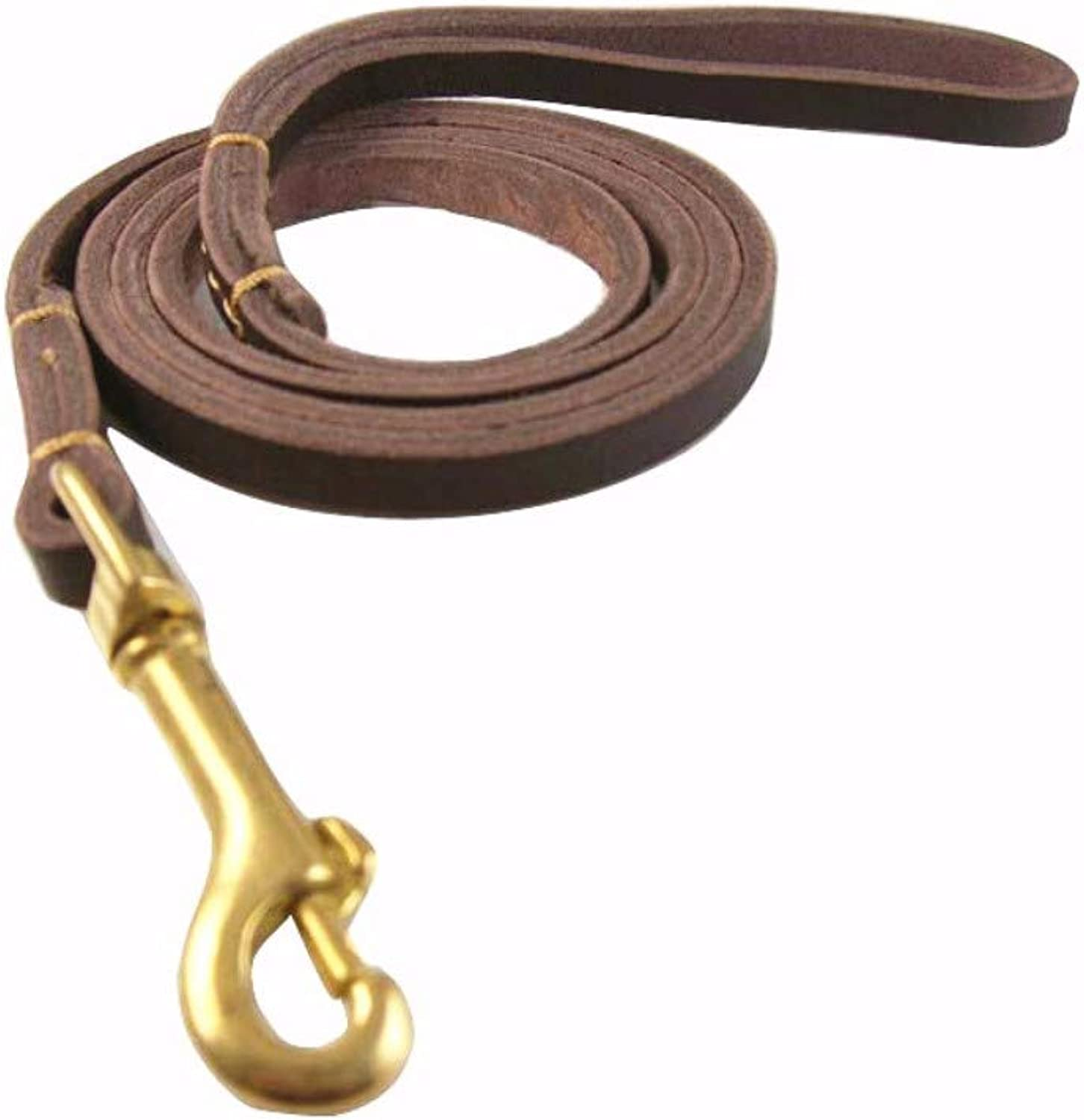 Hhxx9 Pet Supplies Top Layer Soft Small and Medium Dog Chain Teddy VIP Dog Rope Leather Pet,Brown