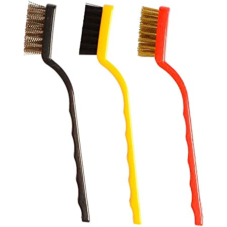 Sky Vogue Cleaning Tool Kit 3 Piecec Mini Wire Brush with Brass, Nylon, Stainless Steel Bristles