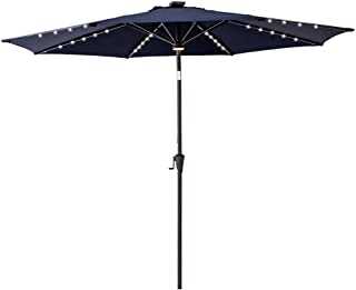 C-Hopetree 10' Outside Patio Market Umbrella with LED Solar Lights and Tilt for Outdoor Table Balcony Garden Yard Deck, Navy Blue