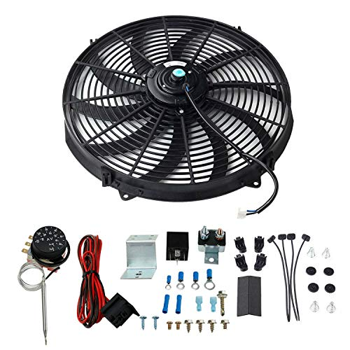 16'' Black USA Volt Single 12V Electric Engine Radiator Cooling Fan 120W +Adjustable Thermostat Controller Kit, Relay Wire Universal Design for All radiators, Oil Coolers, Transmission Coolers