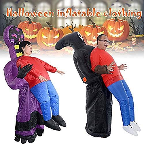 Ying-feirt Super Grim Reaper Halloween Opblaasbare Cosplay Kostuums voor kinderen Volwassene, Gek wandelen rijden op kostuum Blowup Dieren Cosplay Speelgoed Outfit