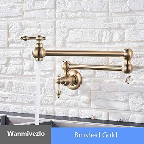 G0000D - Grifo de cocina de oro cepillado para montaje en pared, grifo de baño con agua fría para lavado de grifo giratorio con boquilla plegable de latón para lavabo, grúa de lavabo, calidad superior y envío gratis
