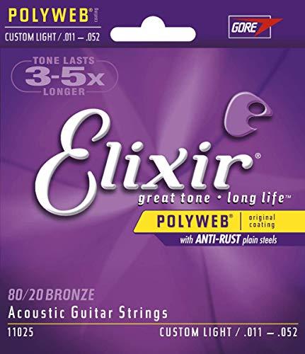 Cuerdas de guitarra acústica Elixir Strings de bronce en proporción 80/20 con recubrimiento POLYWEB, calibre ligero personalizado (.011-.052)