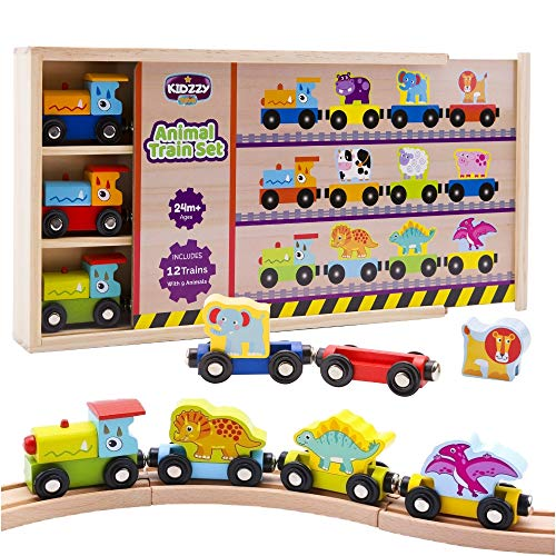 Wooden Trains Set (21 PCS) with 3 Dinosaurs 3 Farm 3 Zoo Animals with Box and Cover - Train Toys Magnetic Set Toy Train Sets for Kids Toddler Gift Toy for 2 Year Old Boys and Girls and up