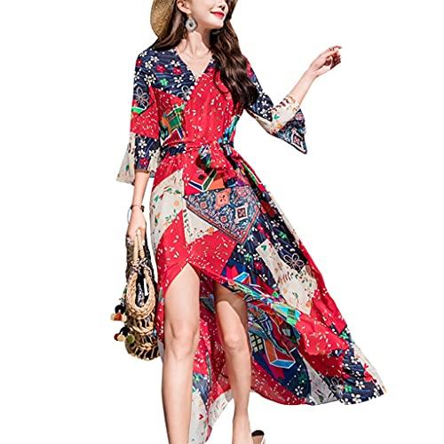GDSSX Abito con Scollo a V Stampato Floreale da Donna a Mezza Lunghezza Retro Elegante (Color : Red, Size : S)