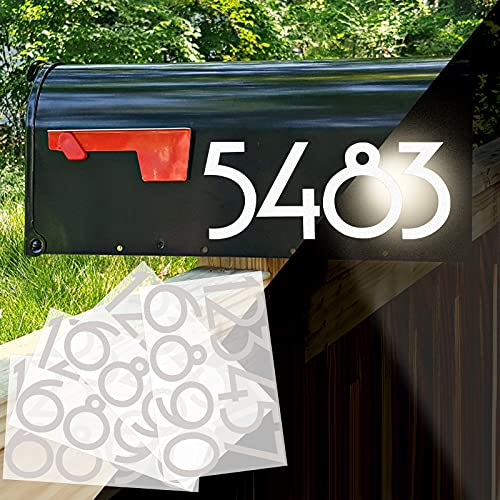 3 Inch Mailbox Number Stickers - 40PCS White Reflective Mailbox Numbers, Large Waterproof Self Adhesive Number Stickers for Mailbox, Signs, Window, Door, Cars, Home, Outside