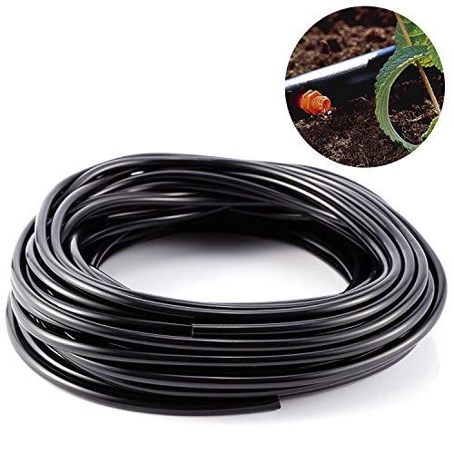Delaman Irrigation Pipe Micro Druppelslang slang 3mm voor tuin Irrigatie systeem, 20m, zwart