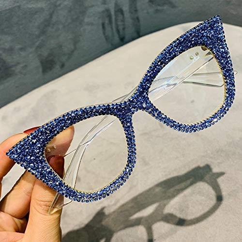 Gafas de sol de gran tamaño para mujer, hechas a mano con brillantes ojos de gato, gafas de lectura vintage transparentes, tonos de moda (color: transparente)