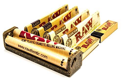 Raw 18755 1 x Hemp Plastic KS Roller 110mm-Fits Regular Filter Tips Org 2 x Classic King Size Paper, Papier