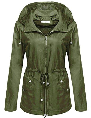 begorey Donna Giacca Impermeabile con Cappucio Maniche Lunghe Sportivo Casual Funzionale Unisex Cappotto (xxl, esercito verde)