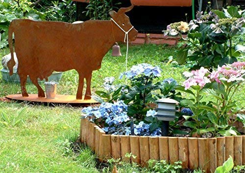 Rostikal | Rost Deko Kuh aus Metall | Edelrost Tierfigur zur Gartendekoration | 100 x 75 cm
