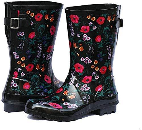 Women's Adjustable Buckle Outdoor Slip Resistant Waterproof Printed Mid Calf Rain Boots Black 10