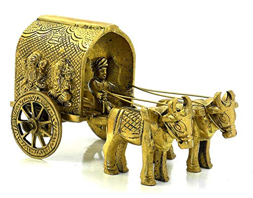 Zed Blue Balaji Handicrafts Brass Statue of Laxmi Ganesh Symbolized Bullock Cart Showpiece for Pooja | Home Decor | Office | Gift |