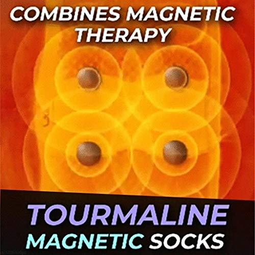 HSKB Heat Socks with Tourmaline Nubs, Self-Warming/Washable/Reusable Foot Massager Massage Foot Relaxation Socks for Women Men 2 Pairs (Black)
