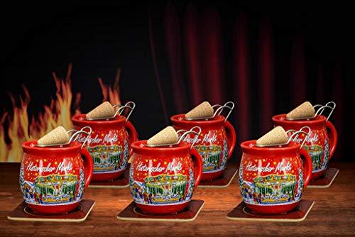 Feuerzangentasse 6er im Karton, Rot/Historischer Markt - für Feuerzangenbowle