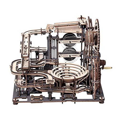 ROKR Pista per Biglie Puzzle 3D in Legno di Costruzione Fai-da-te Kit di Costruzione Modello Meccanico con 10 Steel Balls, Marble Night City