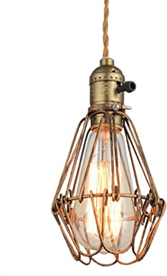 NIUYAO Pendant Light Industrial Vintage Forged Metal Mini Shade Cage 1-Light Hanging Lamp Ceiling Fixture-Bronze