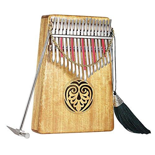 Kalimba, ammoon Kalimba-Daumenklavier mit 17 Tasten aus Hawaiianischem Akazienholz, mit Koffer, Musikbuch, Waage, Aufklebern und Stimmhammer, Geeignet für Erwachsene, Kinder und Anfänger