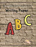 Kindergarten writing paper for students, Kids, Girl, Boy practice the shapes and sizes of their letters and numbers, 120 pages,, Decorative beige tiles brick wall texture cover