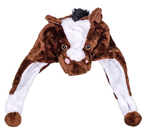 Chocolate Brown Horse One Size Fits Most Cozy Soft Polyester Plush Children's Hat With Hand Warmers
