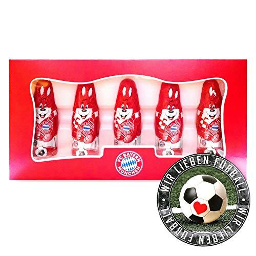 FC Bayern München Schoko Mini Osterhase Schokoladenhase FCB 09 (5 STK.) Plus Aufkleber Wir lieben Fußball