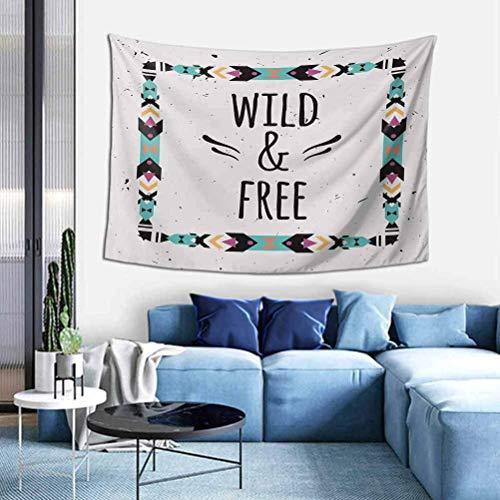 YUNYANG Tapiz de pared tribal con marco geométrico abstracto y cita gratis bohemia estilo tapiz, coco, turquesa