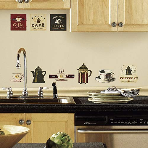 RoomMates RMK1254SCS Coffee House - Vinilo decorativo para pared, multicolor