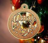 Bola navidad con nombre personalizada para arbol - Decoración navideña - Esfera grabada en madera de máxima calidad con cuerda incluida (Mix)