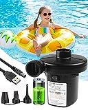 Inflador Electrico,Rantizon Hinchador Electrico,220V-240V & USB 8.5V DC Inflador Paddle Surf Electrico con 3 Adaptadores de Boquilla, Rápido Hinchar y Deshinchar, para Airbed, Piscina, Cama Flotante