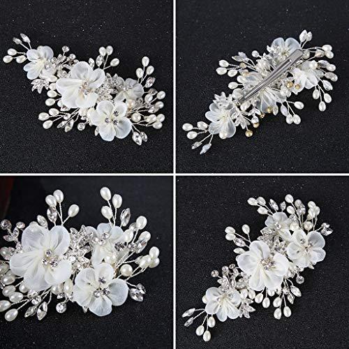 Baiyao Clip para el pelo de la boda de la novia headwear perla flor hecha a mano cristal tocado decoración nupcial encantos clips regalos joyería del pelo adornos