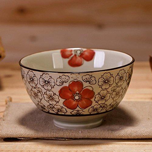 WRL Ensemble de Couverts Bol en Céramique sous Glaçure de Style Japonais Bol à Riz Bol de Riz à la Maison Petit Bol à Soupe,Ré,4,5 Pouces