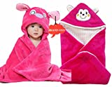 BRANDONN Newborn Combo of Furry Hooded Smily Blanket and Glacier Wrapper for Ba