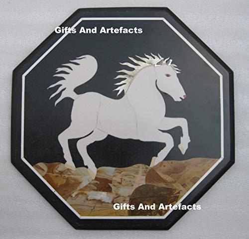 Geschenken en voorwerpen 18 inch zwart marmer salontafel top Pietra Dura kunst met centrum stijlvolle paard patroon erfgoed ambachten gemaakt van India