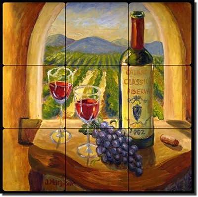 "Chianti View by Joanne Morris Margosian - Wine Grape Tumbled Marble Tile Mural 12"" x 12"" Kitchen Shower Backsplash"