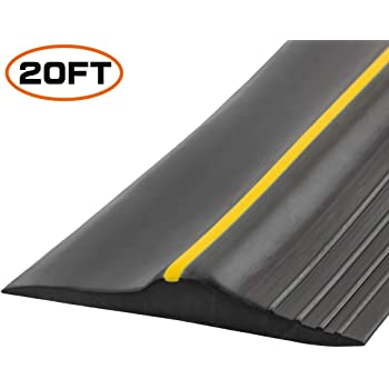 Universal Garage Door Bottom Threshold Seal Strip,Weatherproof Rubber DIY Weather Stripping Replacement, Not Include Sealant/Adhesive (20Ft, Black)