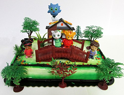 Daniel Tiger Birthday Cake Topper Set Featuring Daniel Tiger and Friends Figures and Decorative Themed Accessories