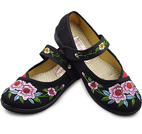 Vintage Chinois brodé Chaussures à Fleurs Femmes Ballerine Mary Jane Ballet Plat Mocassins en Coton (Noir, Numeric_39)