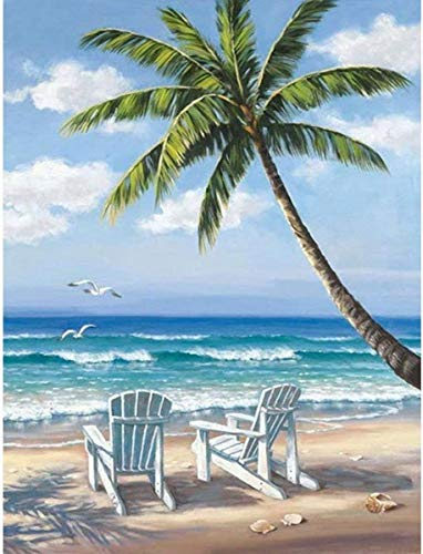 DIY 5D Diamond Painting by Number Kit, Full Drill Beautiful Beach Scenery Embroidery Cross Stitch Picture Supplies Arts Craft Wall Sticker Decor (16x20 inch)