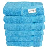 SALBAKOS Luxury Hotel & Spa Turkish Cotton 6-Piece Eco-Friendly Hand Towel Set 16 x 30 Inch, Aqua