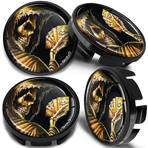 SkinoEu 4 x 65mm Tapas de Rueda de Centro Centrales Llantas Aluminio Compatibles con Tapacubos Número de Pieza 3B7601171 / 6U7601171 Negro Cráneo Cartas de Póquer CV 34