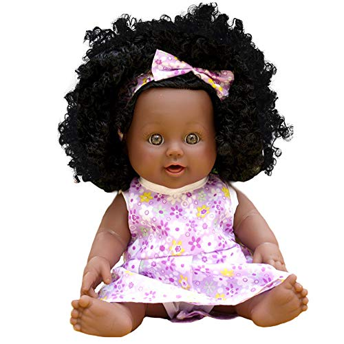 Anytec 12 inch Reborn Newborn Baby Dolls Look Real Soft Silicone Lifelike Black Pearl African American Full Body Reborn Doll with Baby Clothes for Toddler Boys Girls Birthday Gift (Purple)