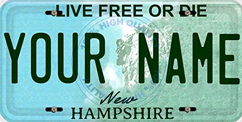 BleuReign(TM Personalized Custom Name New Hampshire State Car Vehicle License Plate Auto Tag (All States Available)