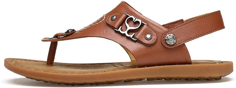 Flip flops Men's Flip Flops Comfortable Slippers Sandals Beach shoes Slippers Summer Slippers Thong Slippers Leather flip flops (color   Light Brown, Size   5.5 UK)