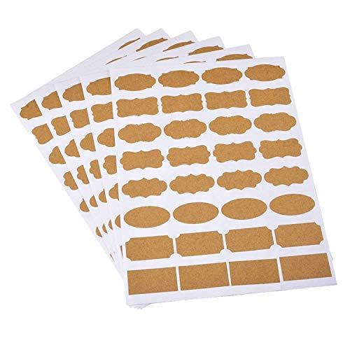 160 Pcs Küche Universal Etiketten Selbstklebende Küchen Aufkleber in verschiedenen Formen, Einfach und schnell zu bedienen,Sticker Für Haushalts, Flasche, Dosen, Schilder, Geschenkaufkleber(Beige,5)