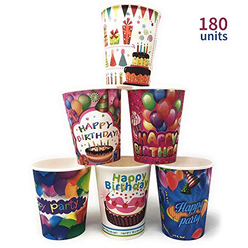 MGE - Set van 180 stuks Happy Birthday Paper Cups - Wegwerp Drinkware - Drinkbekers voor dranken, feest, bruiloft, jubileum, verjaardag benodigdheden - 180x Wegwerp Bekers Gelukkig Verjaardag Ontwerp