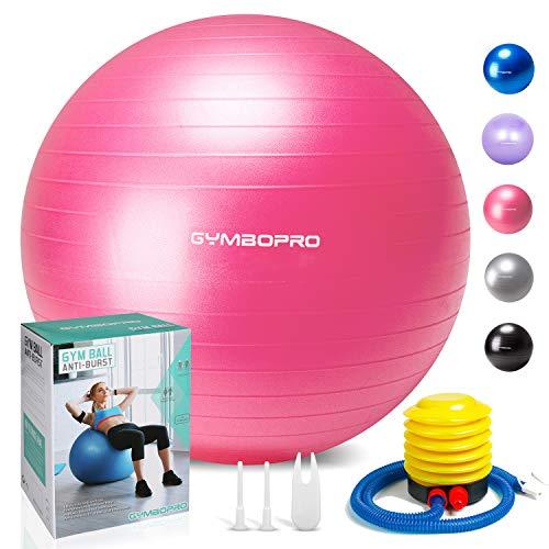 GYMBOPRO Ballon de Gymnastique, Balle de Fitness,Ballon d'exercice avec Pompe Rapide, Anti-éclatement et Anti-dérapant Yoga Ball (55 cm, Rose)